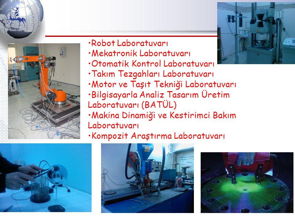 Robot Laboratuvarı Mekatronik Laboratuvarı Otomatik Kontrol Laboratuvarı Takım Tezgahları Laboratuvarı Motor ve Taşıt Tekniği Laboratuvarı Bilgisayarla Analiz Tasarım Üretim Laboratuvarı (BATÜL) Makina Dinamiği ve Kestirimci Bakım Laboratuvarı Kompozit Araştırma Laboratuvarı