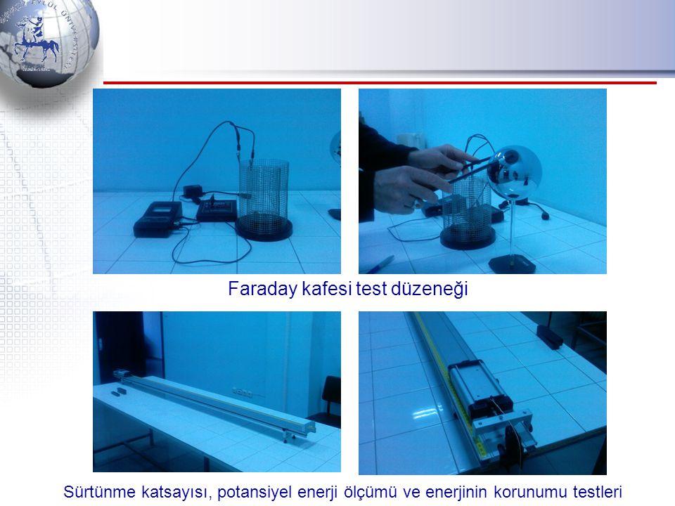 Faraday kafesi test düzeneği Sürtünme katsayısı, potansiyel enerji ölçümü ve enerjinin korunumu testleri