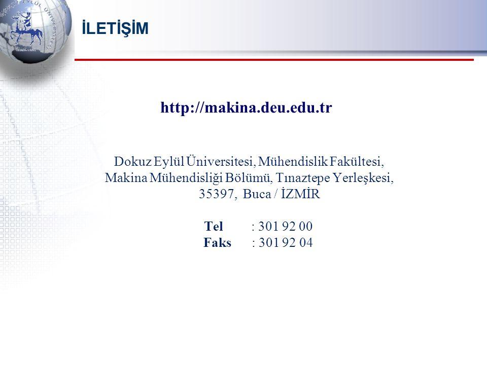 İLETİŞİM Dokuz Eylül Üniversitesi, Mühendislik Fakültesi, Makina Mühendisliği Bölümü, Tınaztepe Yerleşkesi, 35397, Buca / İZMİR Tel : 301 92 00 Faks : 301 92 04 http://makina.deu.edu.tr