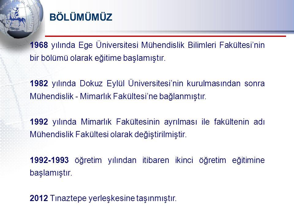 BÖLÜMÜMÜZ 1968 yılında Ege Üniversitesi Mühendislik Bilimleri Fakültesi'nin bir bölümü olarak eğitime başlamıştır.