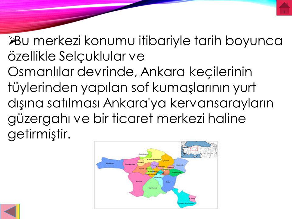  İLÇELER:  Ankara ilinin ilçeleri; Altındağ, Çankaya, Etimesgut, Keçiören, Mamak, Sincan, Yenimahalle, Akyurt, Ayaş, Bala, Beypazarı, Çamlıdere, Çub