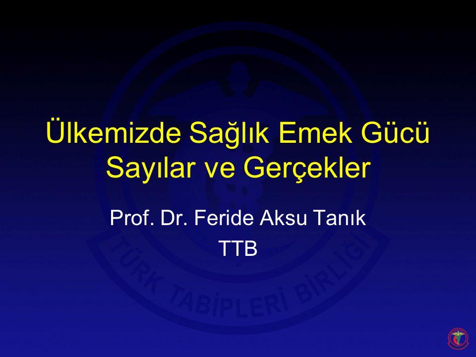 Ülkemizde Sağlık Emek Gücü Sayılar ve Gerçekler Prof. Dr. Feride Aksu Tanık TTB