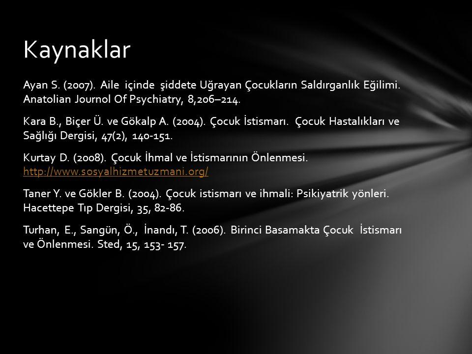 Ayan S. (2007). Aile içinde şiddete Uğrayan Çocukların Saldırganlık Eğilimi. Anatolian Journol Of Psychiatry, 8,206–214. Kara B., Biçer Ü. ve Gökalp A