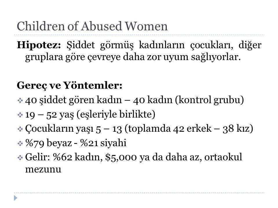 Children of Abused Women Hipotez: Şiddet görmüş kadınların çocukları, diğer gruplara göre çevreye daha zor uyum sağlıyorlar. Gereç ve Yöntemler:  40
