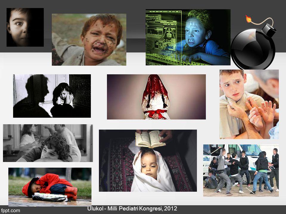 Şiddetin Görülme Sıklığı Fiziksel İstismar % 13 – 36 Cinsel İstismar % 10 – 44 Çocuklar ve ergenler arasında zorbalık % 7 -34 Ceza evindeki çocukların ceza evine girmeden önceki 3 ayda şiddetle karşılaşma sıklığı % 70 Çocuk işçi % 5.9 TUİK, 2011 TBMM, Şiddet raporu, 2007 Alikaşifoğlu M ve ark, 2006 Karaman-Kepenekci & Cinkir, 2006 Pekel-Uludagli & Ucanok, 2005 Eskin M ve ark, 2005 Alikasifoglu M ve ark., 2004 Kapci E,2004 Zoroğlu SS ve ark, 2003 Oral R ve ark, 1996 Atamer TA, 1988 Bilir S, 1986 Ulukol - Milli Pediatri Kongresi, 2012