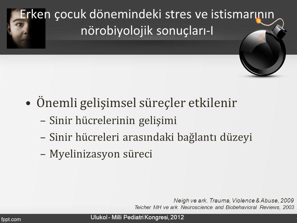 Önemli gelişimsel süreçler etkilenir –Sinir hücrelerinin gelişimi –Sinir hücreleri arasındaki bağlantı düzeyi –Myelinizasyon süreci Erken çocuk dönemi