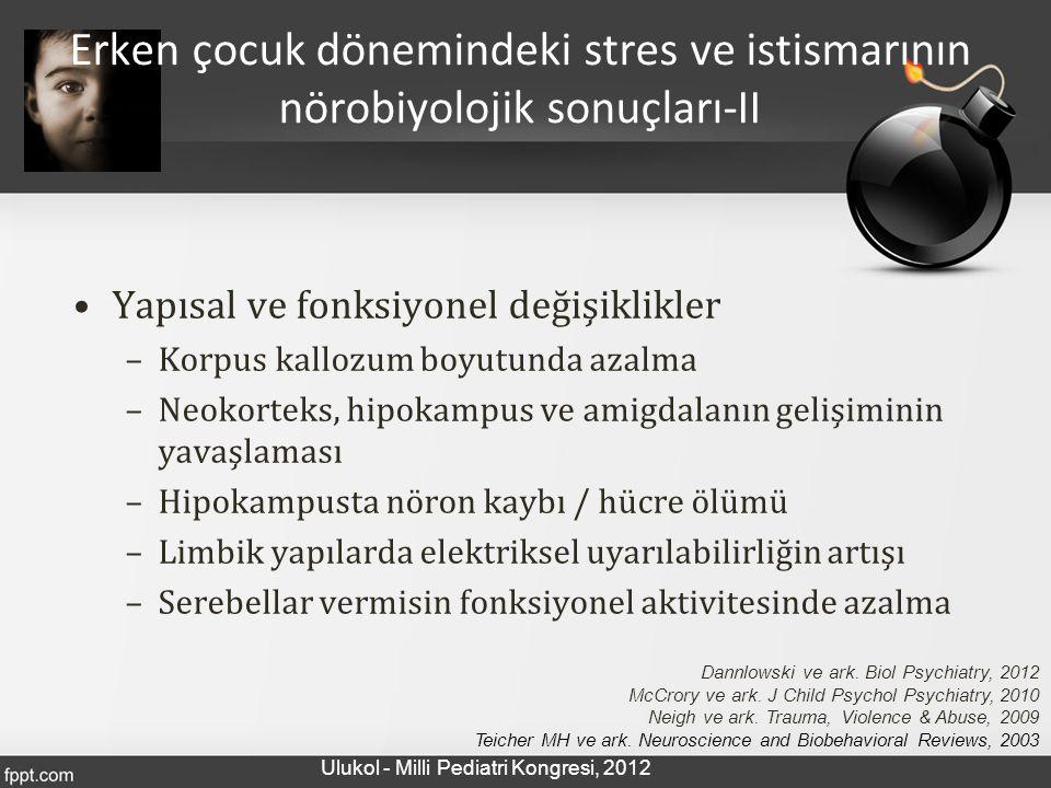 Yapısal ve fonksiyonel değişiklikler –Korpus kallozum boyutunda azalma –Neokorteks, hipokampus ve amigdalanın gelişiminin yavaşlaması –Hipokampusta nö