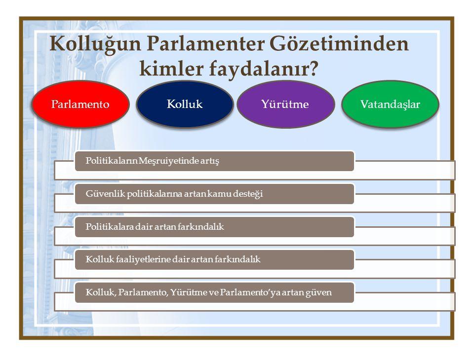 Kolluğun Parlamenter Gözetiminden kimler faydalanır? Politikaların Meşruiyetinde artışGüvenlik politikalarına artan kamu desteğiPolitikalara dair arta