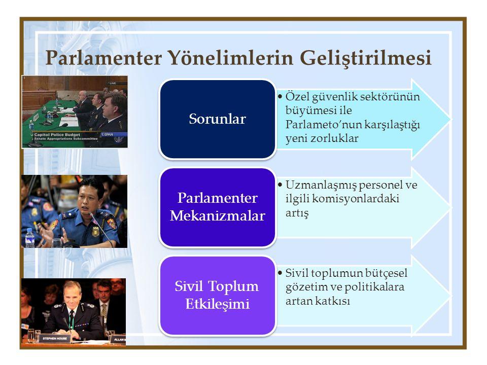 Parlamenter Yönelimlerin Geliştirilmesi Özel güvenlik sektörünün büyümesi ile Parlameto'nun karşılaştığı yeni zorluklar Sorunlar Uzmanlaşmış personel