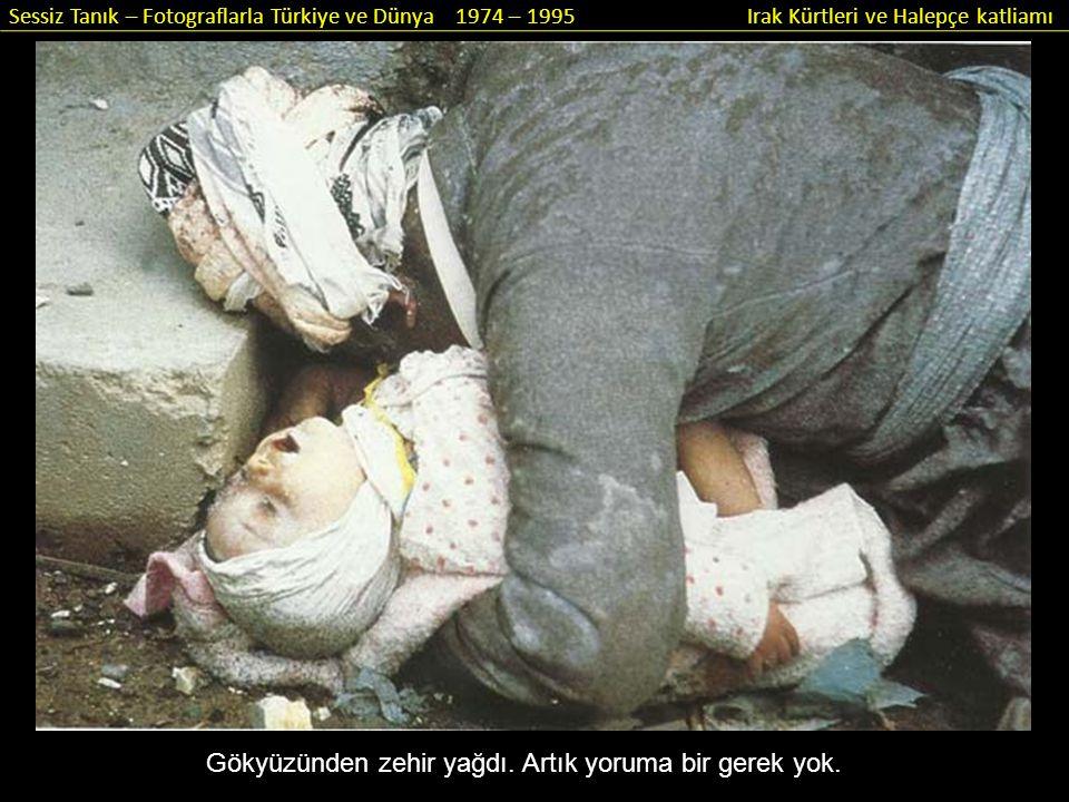 Sessiz Tanık – Fotograflarla Türkiye ve Dünya 1974 – 1995 Irak Kürtleri ve Halepçe katliamı Gökyüzünden zehir yağdı. Artık yoruma bir gerek yok.