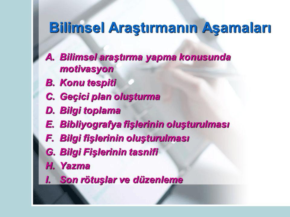 ARAŞTIRMA TEKNİKLERİ A.
