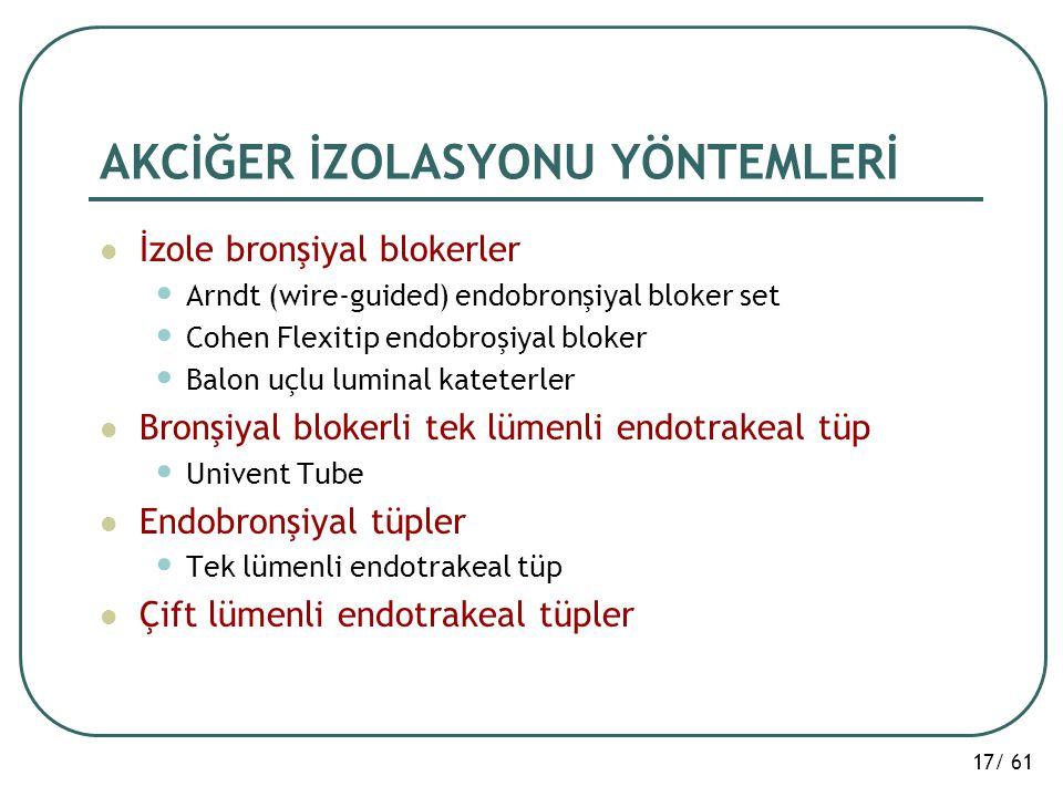17/ 61 AKCİĞER İZOLASYONU YÖNTEMLERİ İzole bronşiyal blokerler Arndt (wire-guided) endobronşiyal bloker set Cohen Flexitip endobroşiyal bloker Balon u