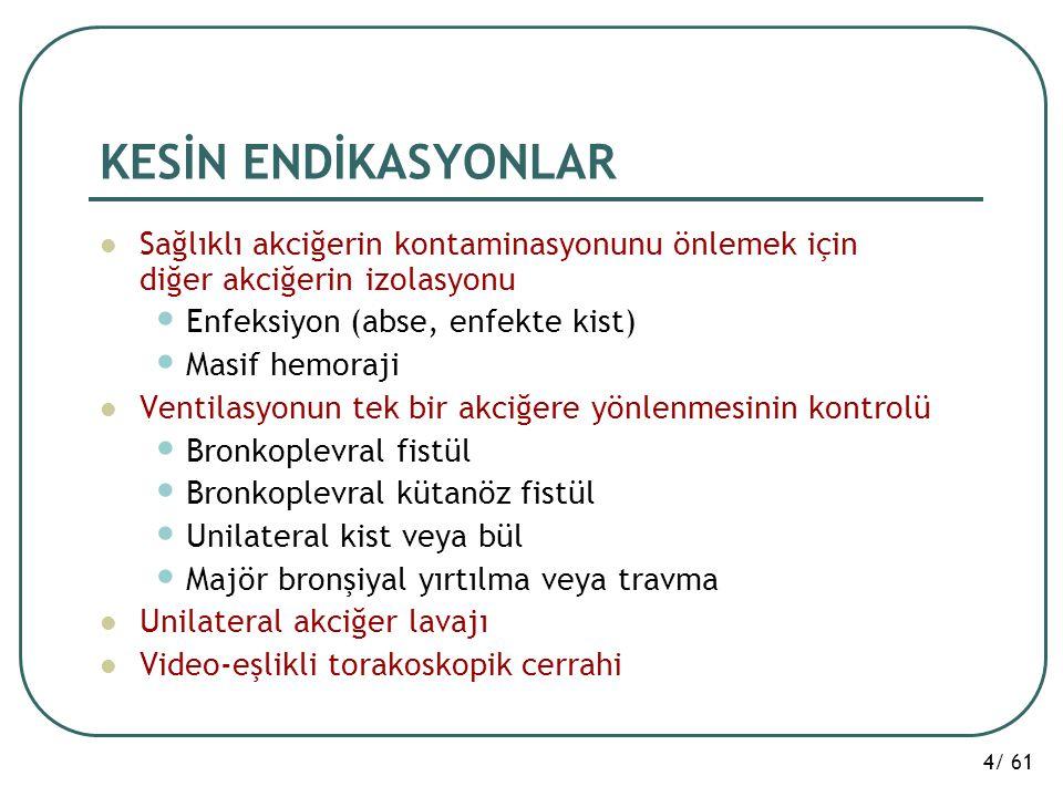 4/ 61 KESİN ENDİKASYONLAR Sağlıklı akciğerin kontaminasyonunu önlemek için diğer akciğerin izolasyonu Enfeksiyon (abse, enfekte kist) Masif hemoraji V