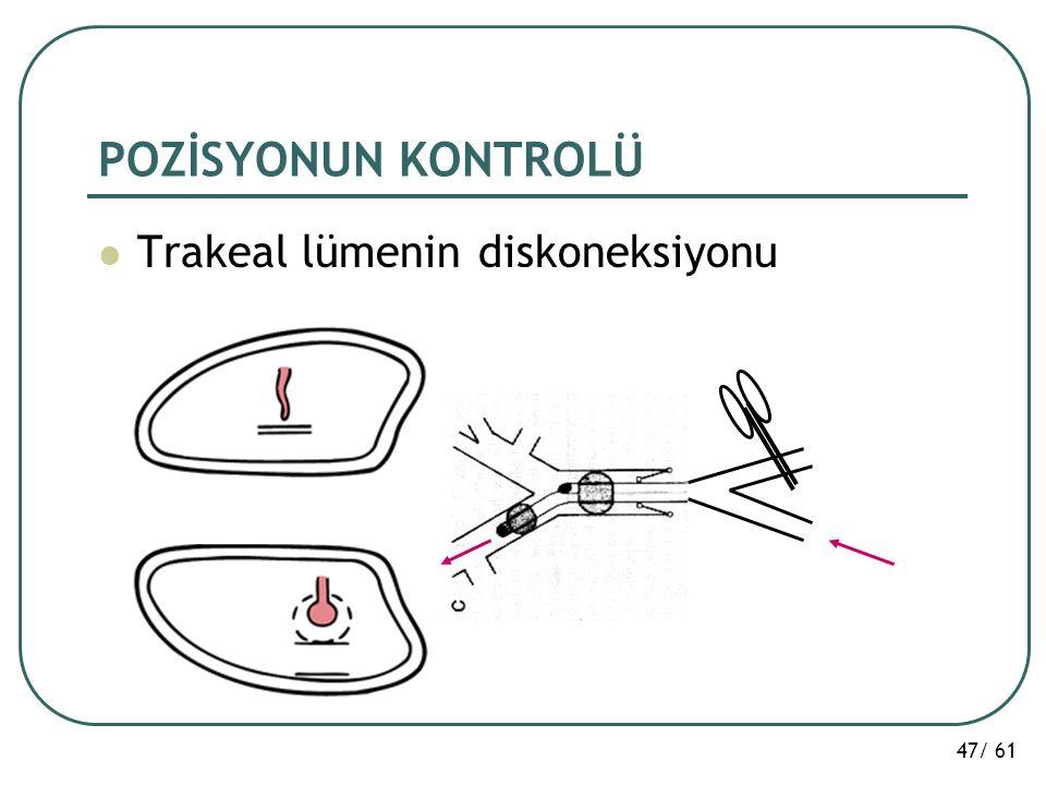 47/ 61 POZİSYONUN KONTROLÜ Trakeal lümenin diskoneksiyonu