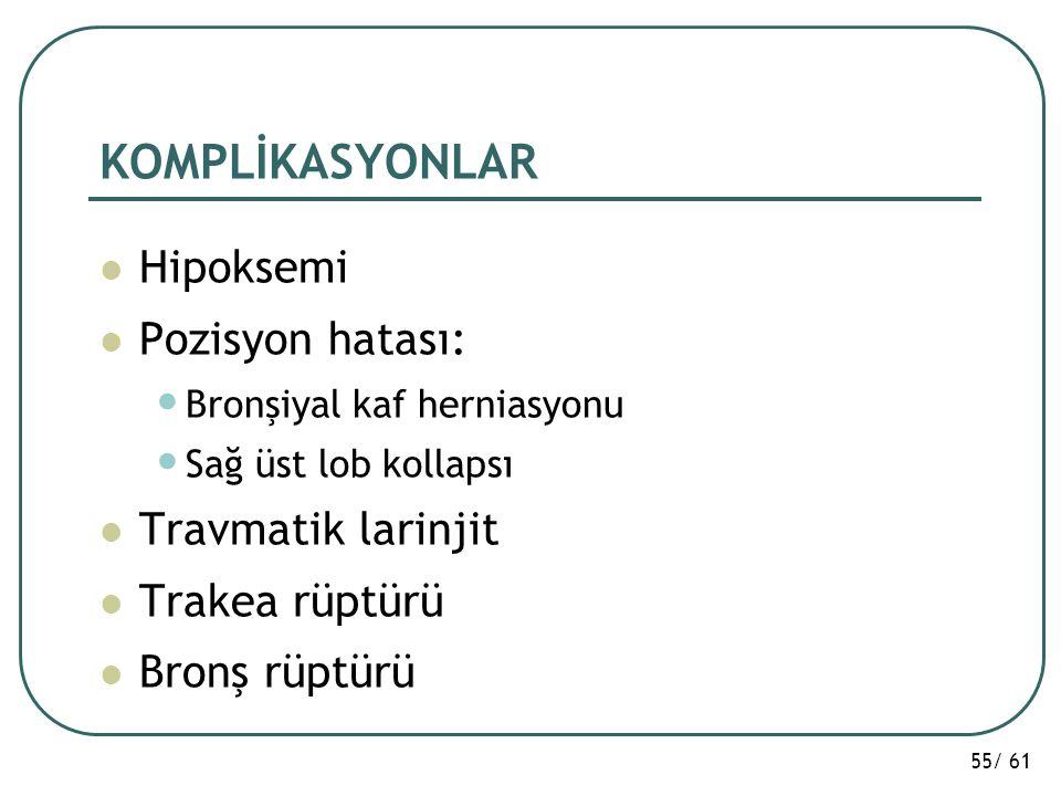 55/ 61 KOMPLİKASYONLAR Hipoksemi Pozisyon hatası: Bronşiyal kaf herniasyonu Sağ üst lob kollapsı Travmatik larinjit Trakea rüptürü Bronş rüptürü