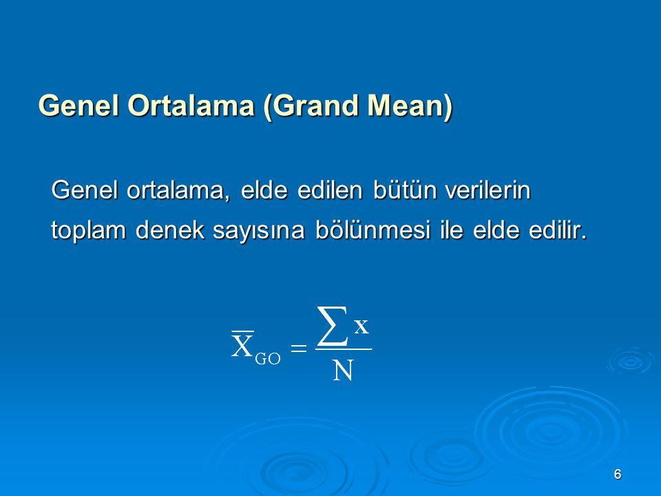 17  Serbestlik Dereceleri:  Kareler Ortalamaları: GnSD (Genel serbestlik derecesi) = N-1 = 33 GASD (Gruplar arası serbestlik derecesi) = k-1 = 3 GİSD (Gruplar içi serbestlik derecesi) = N-k = 30