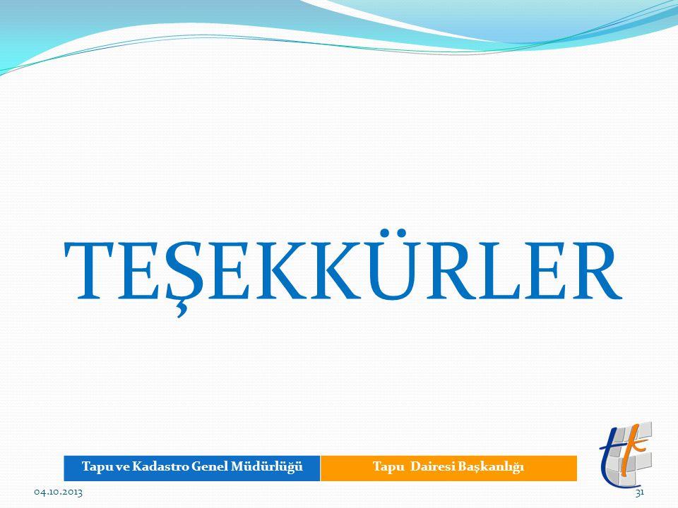 TEŞEKKÜRLER Tapu ve Kadastro Genel MüdürlüğüTapu Dairesi Başkanlığı 3104.10.2013