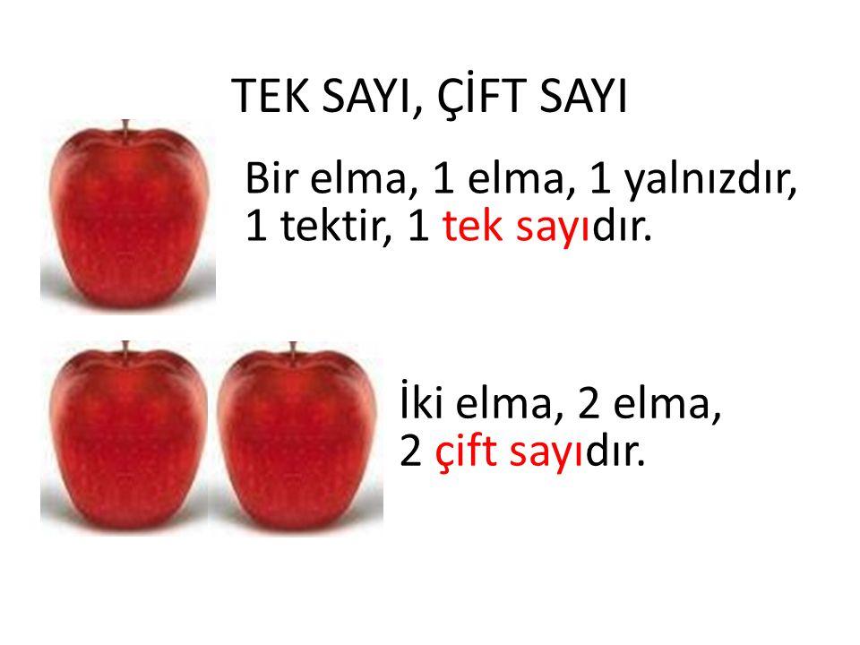 TEK SAYI, ÇİFT SAYI Bir elma, 1 elma, 1 yalnızdır, 1 tektir, 1 tek sayıdır. İki elma, 2 elma, 2 çift sayıdır.