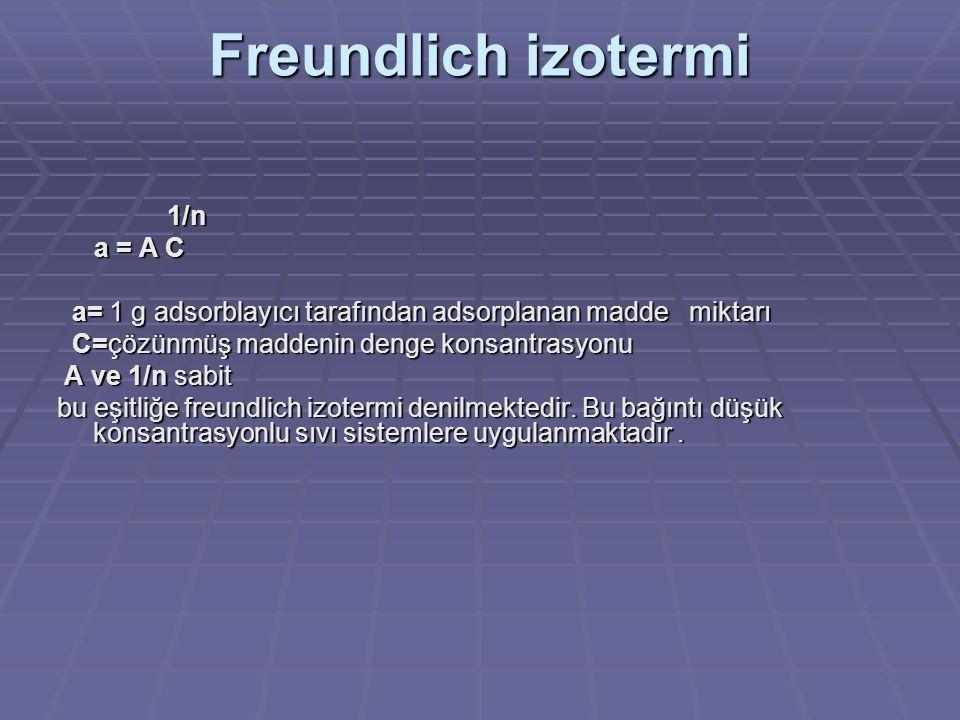 Freundlich izotermi 1/n 1/n a = A C a = A C a= 1 g adsorblayıcı tarafından adsorplanan madde miktarı a= 1 g adsorblayıcı tarafından adsorplanan madde miktarı C=çözünmüş maddenin denge konsantrasyonu C=çözünmüş maddenin denge konsantrasyonu A ve 1/n sabit A ve 1/n sabit bu eşitliğe freundlich izotermi denilmektedir.