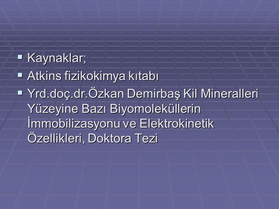  Kaynaklar;  Atkins fizikokimya kıtabı  Yrd.doç.dr.Özkan Demirbaş Kil Mineralleri Yüzeyine Bazı Biyomoleküllerin İmmobilizasyonu ve Elektrokinetik Özellikleri, Doktora Tezi
