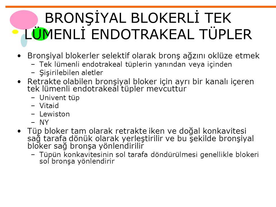 BRONŞİYAL BLOKERLİ TEK LÜMENLİ ENDOTRAKEAL TÜPLER Bronşiyal blokerler selektif olarak bronş ağzını oklüze etmek –Tek lümenli endotrakeal tüplerin yanı