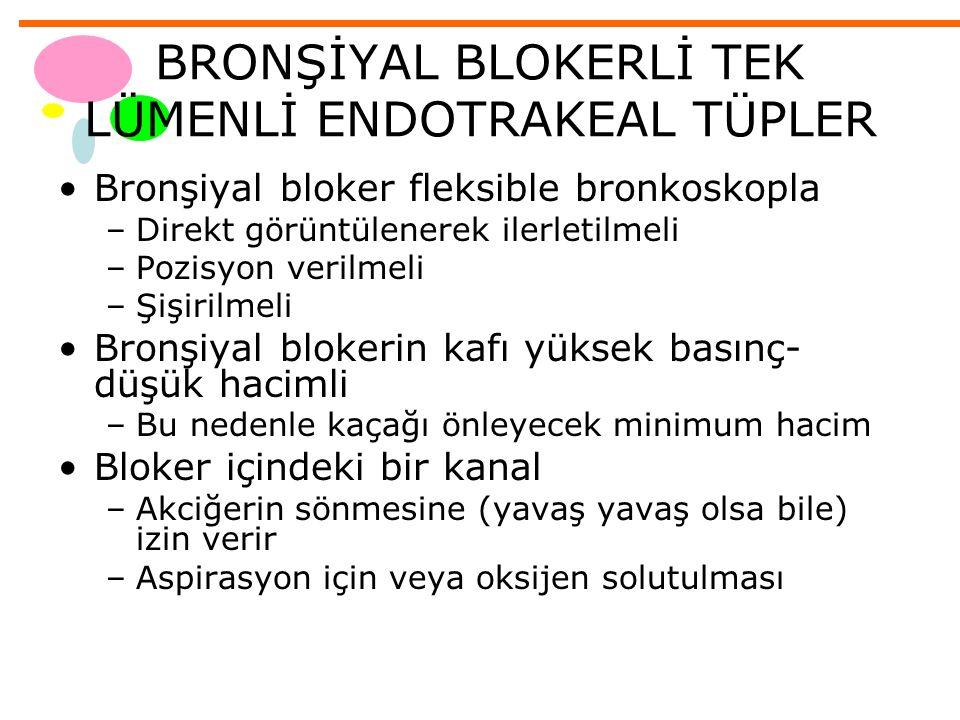 BRONŞİYAL BLOKERLİ TEK LÜMENLİ ENDOTRAKEAL TÜPLER Bronşiyal bloker fleksible bronkoskopla –Direkt görüntülenerek ilerletilmeli –Pozisyon verilmeli –Şi