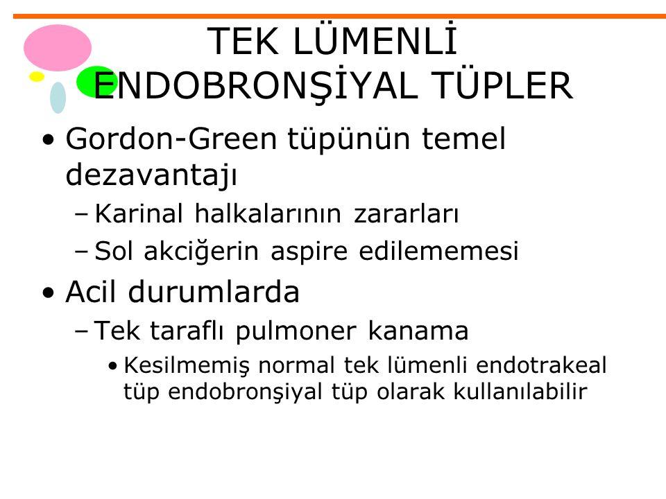 TEK LÜMENLİ ENDOBRONŞİYAL TÜPLER Gordon-Green tüpünün temel dezavantajı –Karinal halkalarının zararları –Sol akciğerin aspire edilememesi Acil durumla