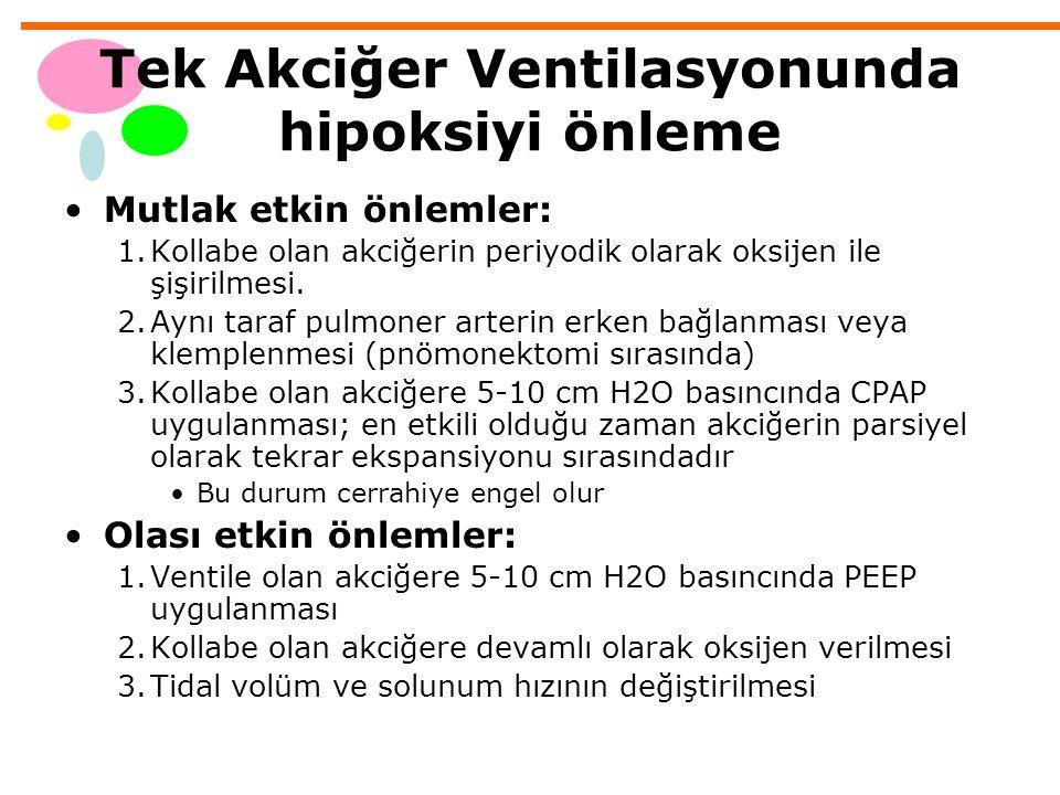 Tek Akciğer Ventilasyonunda hipoksiyi önleme Mutlak etkin önlemler: 1.Kollabe olan akciğerin periyodik olarak oksijen ile şişirilmesi. 2.Aynı taraf pu
