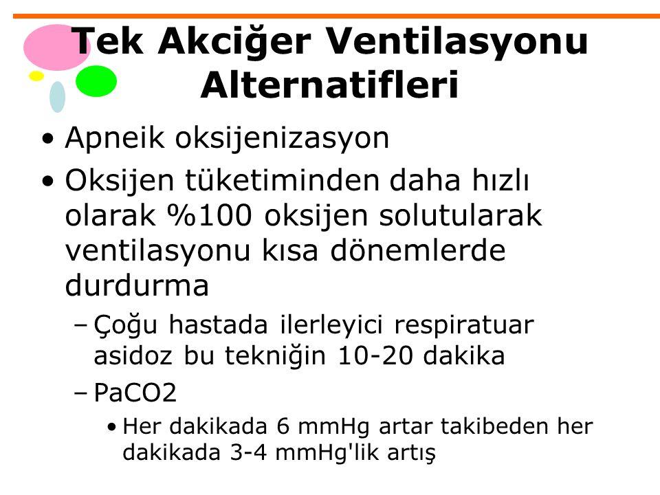 Tek Akciğer Ventilasyonu Alternatifleri Apneik oksijenizasyon Oksijen tüketiminden daha hızlı olarak %100 oksijen solutularak ventilasyonu kısa döneml