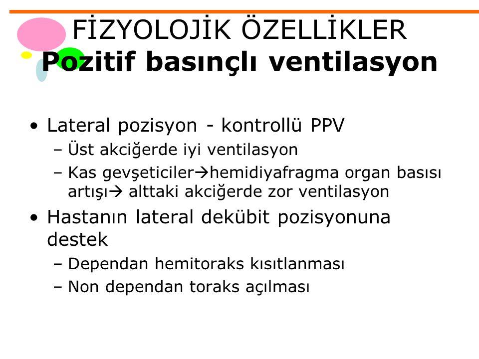 FİZYOLOJİK ÖZELLİKLER Açık pnömotoraks Negatif plevral basınç –Akciğerin kollabe olma isteği - toraks duvarının genişleme eğilimi –Akciğer ekspansiyonu Lateral pozisyon - açık pnömotoraks –Spontan ventilasyon Paradoksik solunum- mediastenin yer değişimi –Uygulanan pozitif basınçlı ventilasyon bu etkileri dengeler