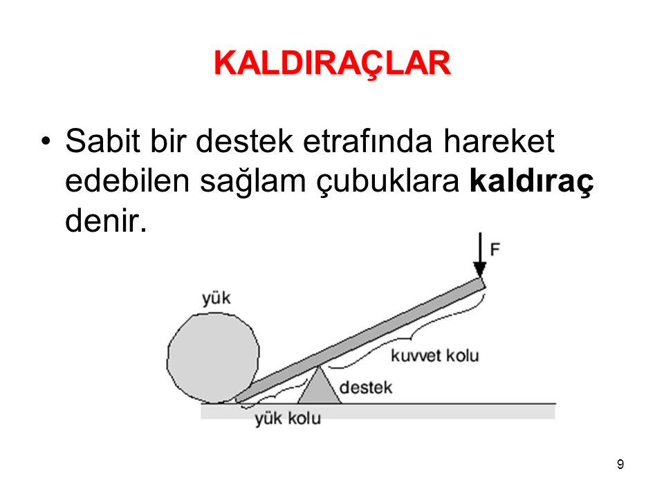 9 KALDIRAÇLAR Sabit bir destek etrafında hareket edebilen sağlam çubuklara kaldıraç denir.