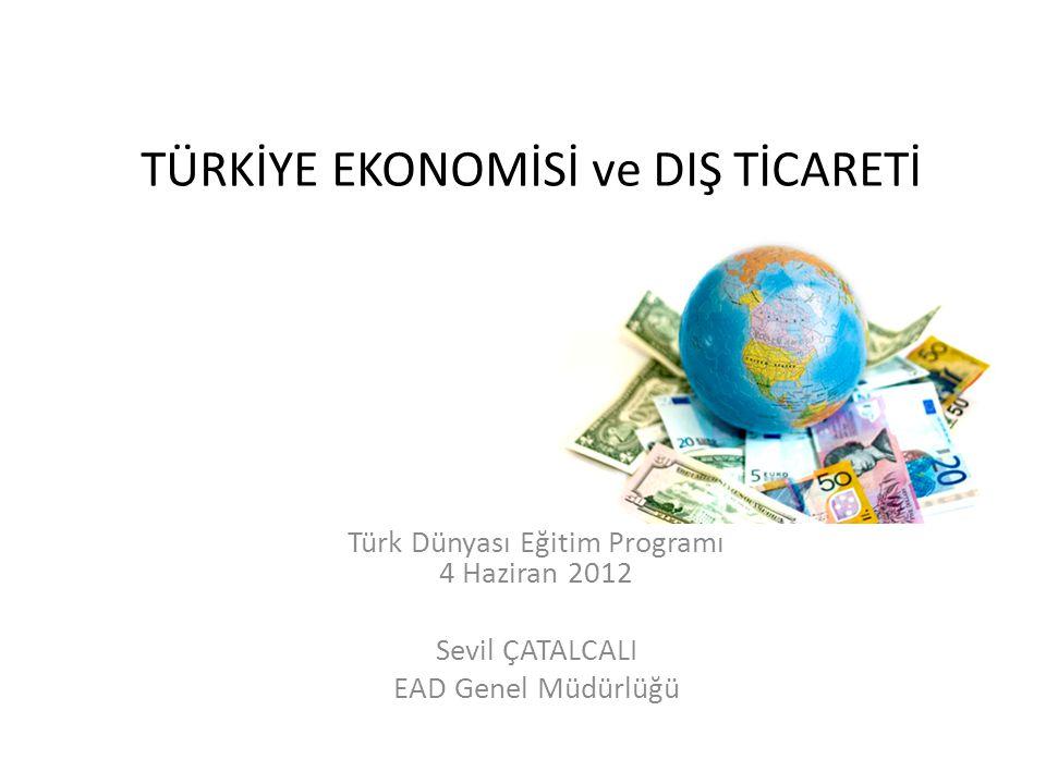 TÜRKİYE EKONOMİSİ ve DIŞ TİCARETİ Türk Dünyası Eğitim Programı 4 Haziran 2012 Sevil ÇATALCALI EAD Genel Müdürlüğü