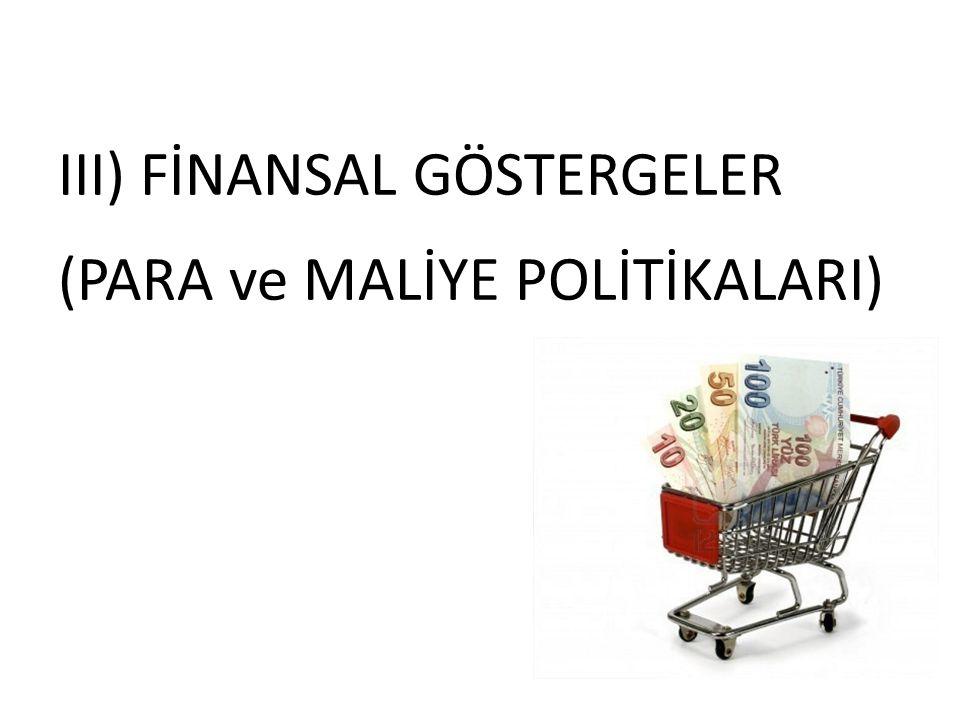 III) FİNANSAL GÖSTERGELER (PARA ve MALİYE POLİTİKALARI)