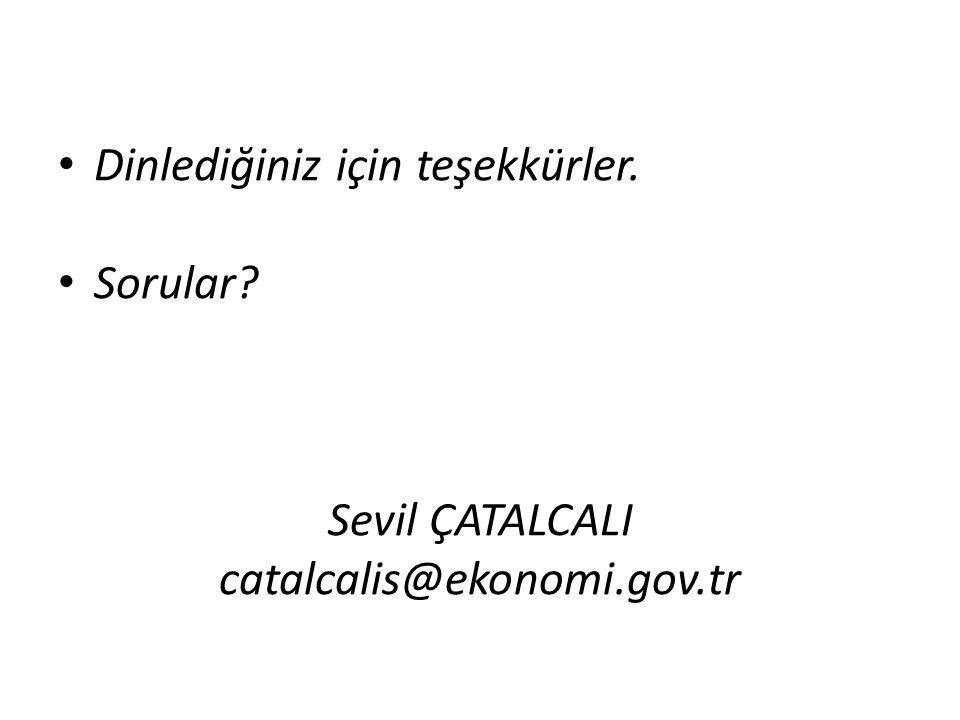 Dinlediğiniz için teşekkürler. Sorular? Sevil ÇATALCALI catalcalis@ekonomi.gov.tr