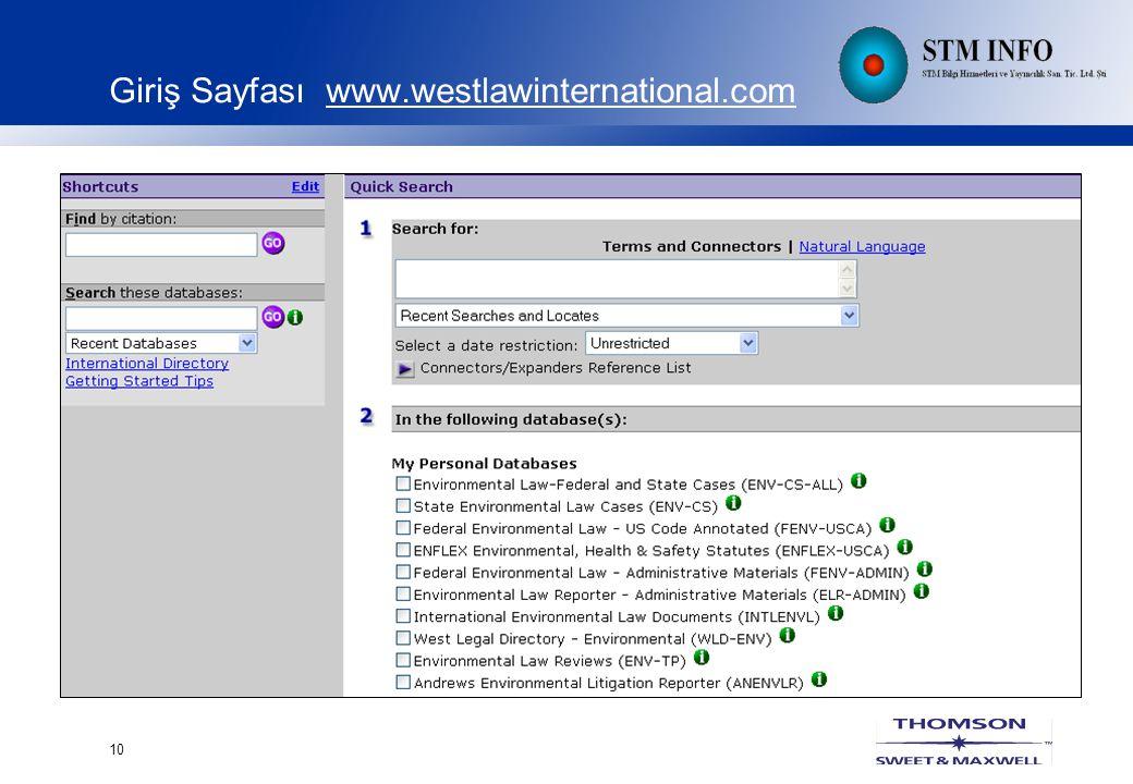10 Giriş Sayfası www.westlawinternational.com