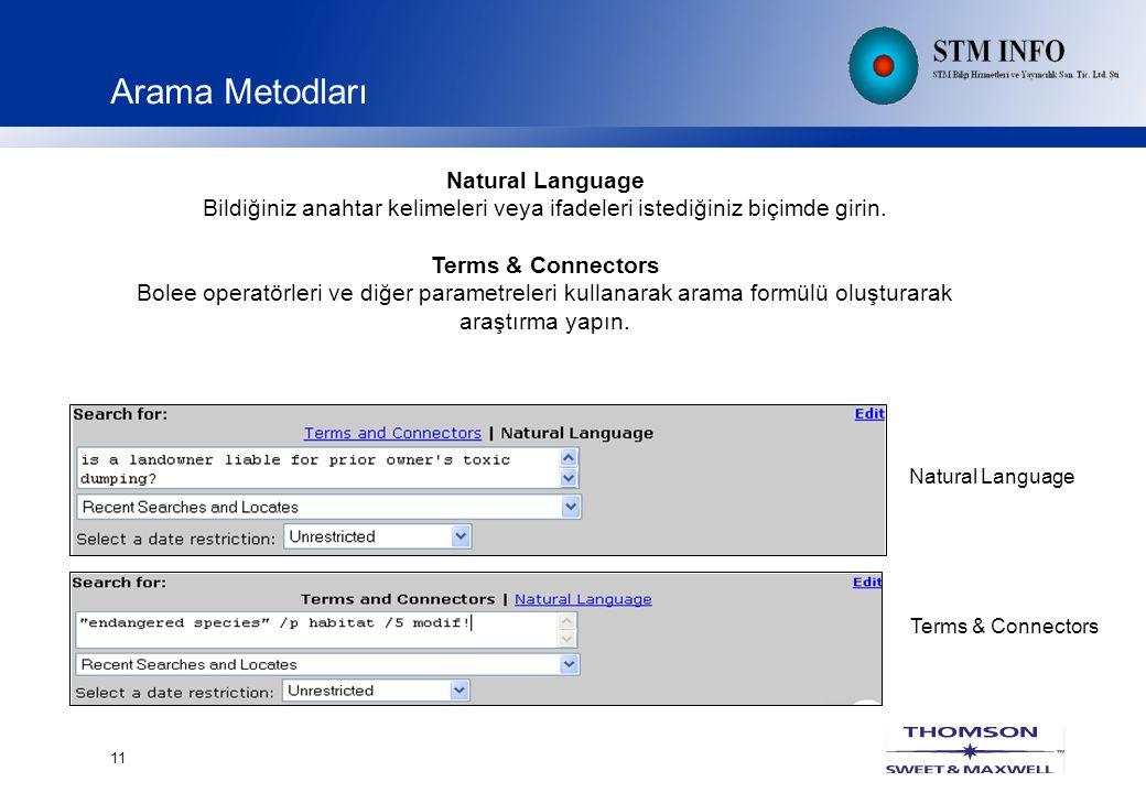 11 Arama Metodları Natural Language Bildiğiniz anahtar kelimeleri veya ifadeleri istediğiniz biçimde girin.