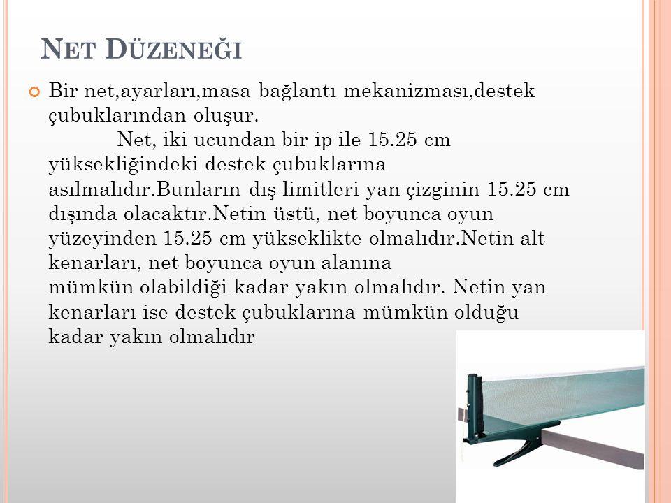 N ET D ÜZENEĞI Bir net,ayarları,masa bağlantı mekanizması,destek çubuklarından oluşur. Net, iki ucundan bir ip ile 15.25 cm yüksekliğindeki destek çub