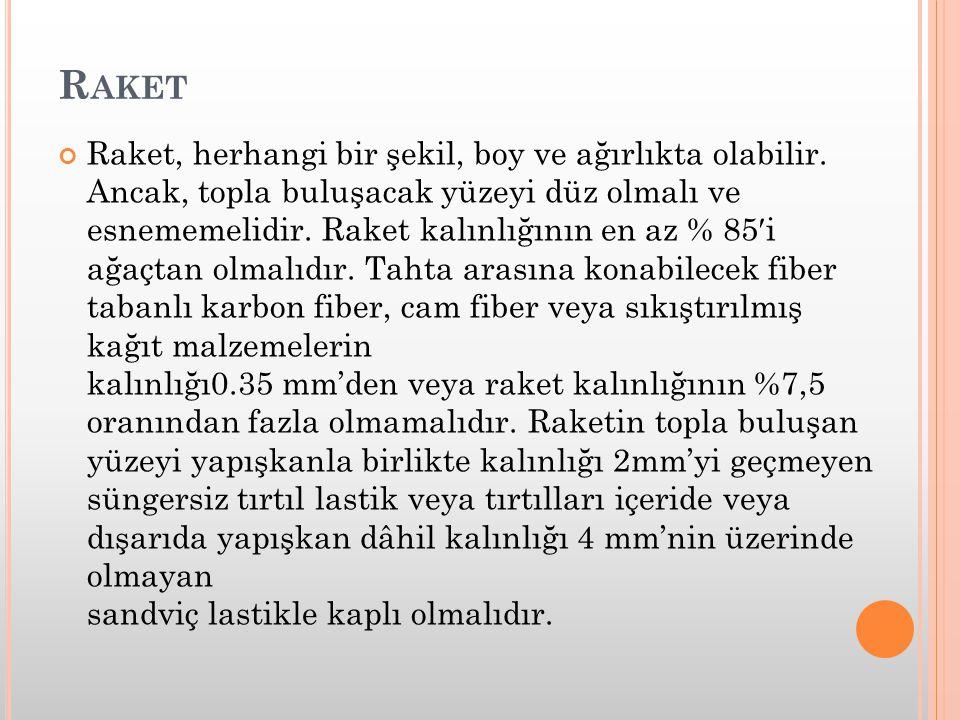 R AKET Raket, herhangi bir şekil, boy ve ağırlıkta olabilir. Ancak, topla buluşacak yüzeyi düz olmalı ve esnememelidir. Raket kalınlığının en az % 85′