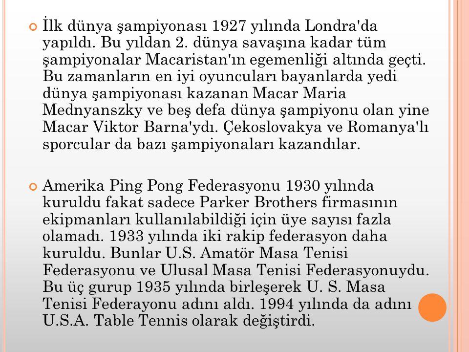 İlk dünya şampiyonası 1927 yılında Londra'da yapıldı. Bu yıldan 2. dünya savaşına kadar tüm şampiyonalar Macaristan'ın egemenliği altında geçti. Bu za