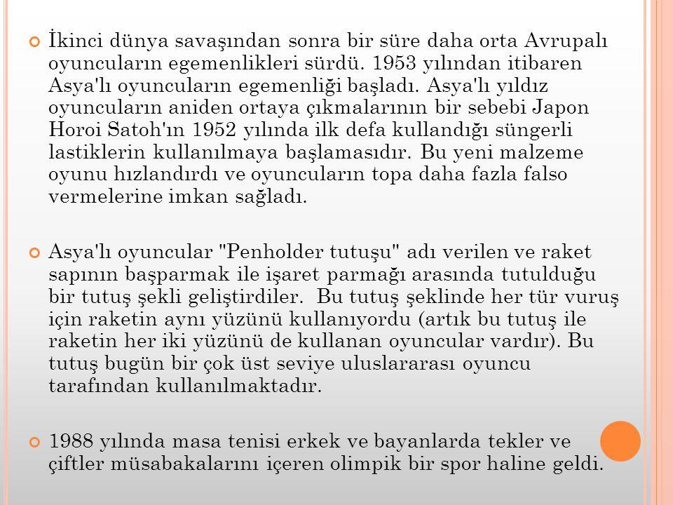 İkinci dünya savaşından sonra bir süre daha orta Avrupalı oyuncuların egemenlikleri sürdü. 1953 yılından itibaren Asya'lı oyuncuların egemenliği başla