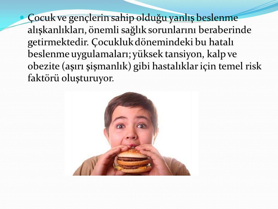 Çocuk ve gençlerin sahip olduğu yanlış beslenme alışkanlıkları, önemli sağlık sorunlarını beraberinde getirmektedir. Çocukluk dönemindeki bu hatalı be