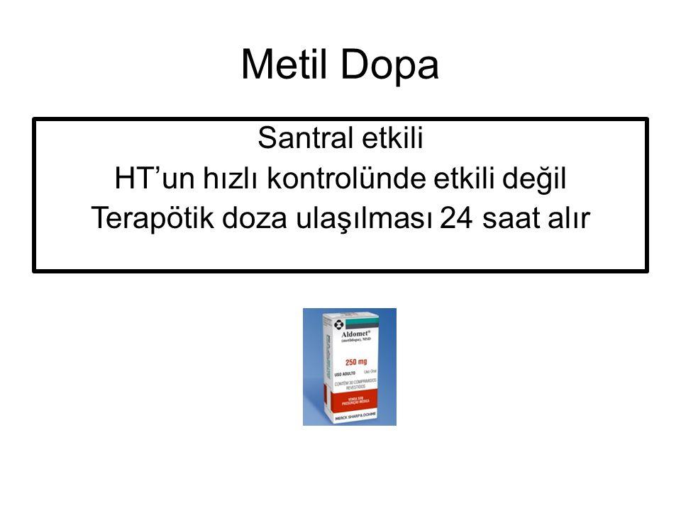 Metil Dopa Santral etkili HT'un hızlı kontrolünde etkili değil Terapötik doza ulaşılması 24 saat alır