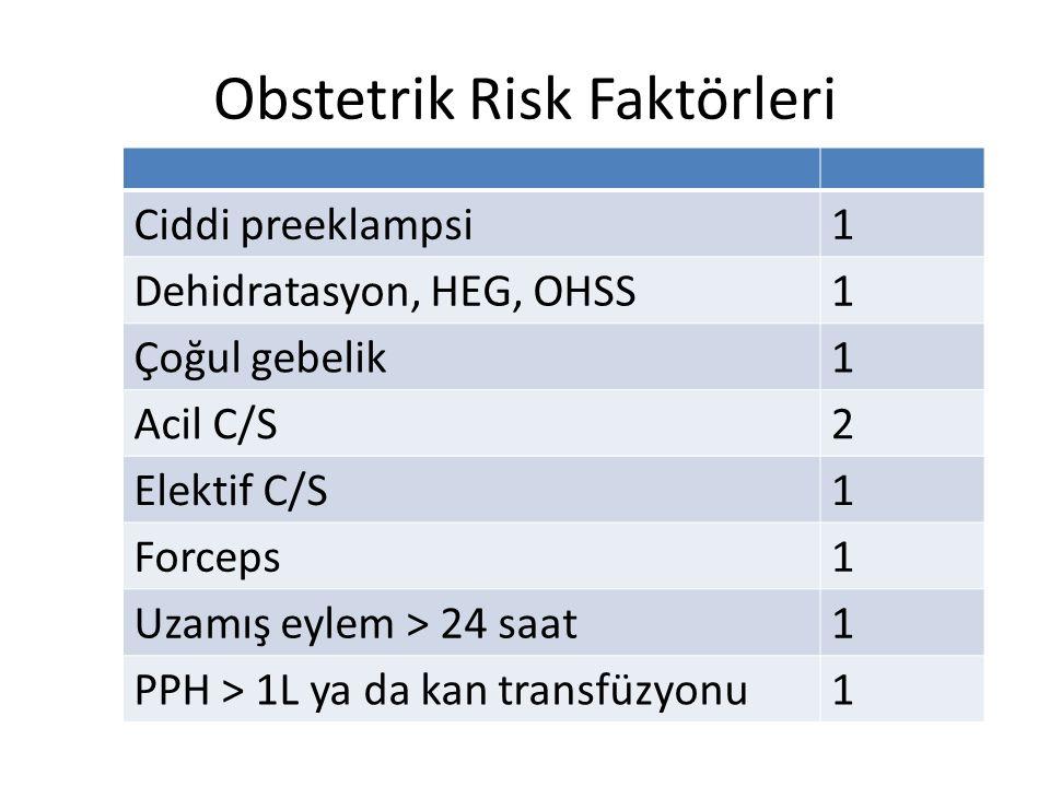Obstetrik Risk Faktörleri Ciddi preeklampsi1 Dehidratasyon, HEG, OHSS1 Çoğul gebelik1 Acil C/S2 Elektif C/S1 Forceps1 Uzamış eylem > 24 saat1 PPH > 1L