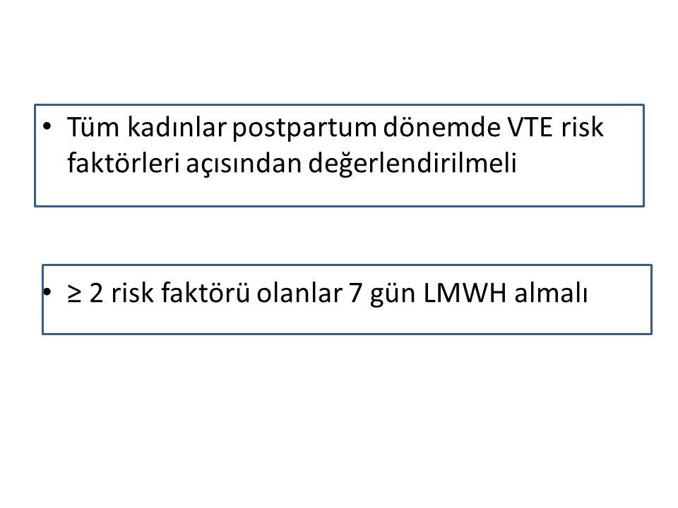 Tüm kadınlar postpartum dönemde VTE risk faktörleri açısından değerlendirilmeli ≥ 2 risk faktörü olanlar 7 gün LMWH almalı