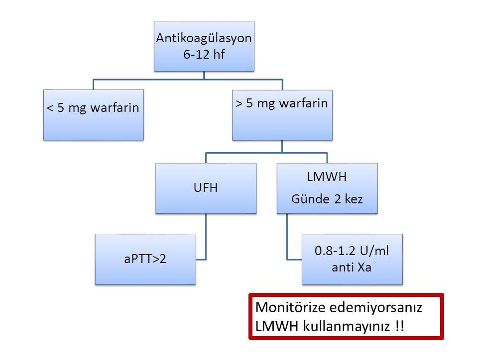 Antikoagülasyon 6-12 hf < 5 mg warfarin > 5 mg warfarin UFH aPTT>2 LMWH Günde 2 kez 0.8-1.2 U/ml anti Xa Monitörize edemiyorsanız LMWH kullanmayınız !