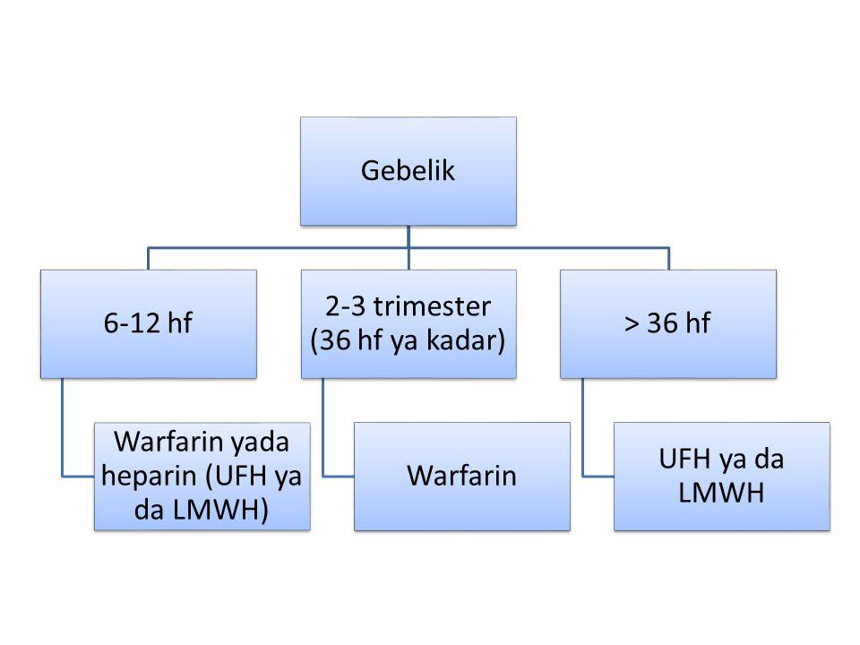 Gebelik 6-12 hf Warfarin yada heparin (UFH ya da LMWH) 2-3 trimester (36 hf ya kadar) Warfarin > 36 hf UFH ya da LMWH