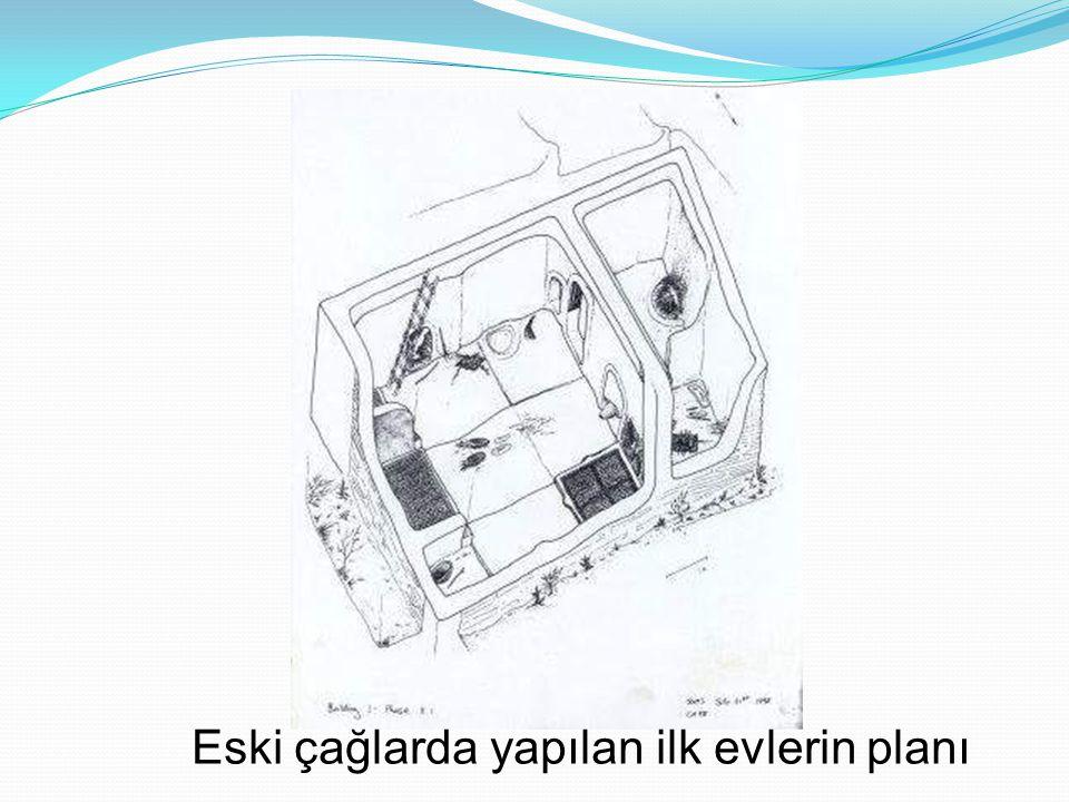 Eski çağlarda yapılan ilk evlerin planı