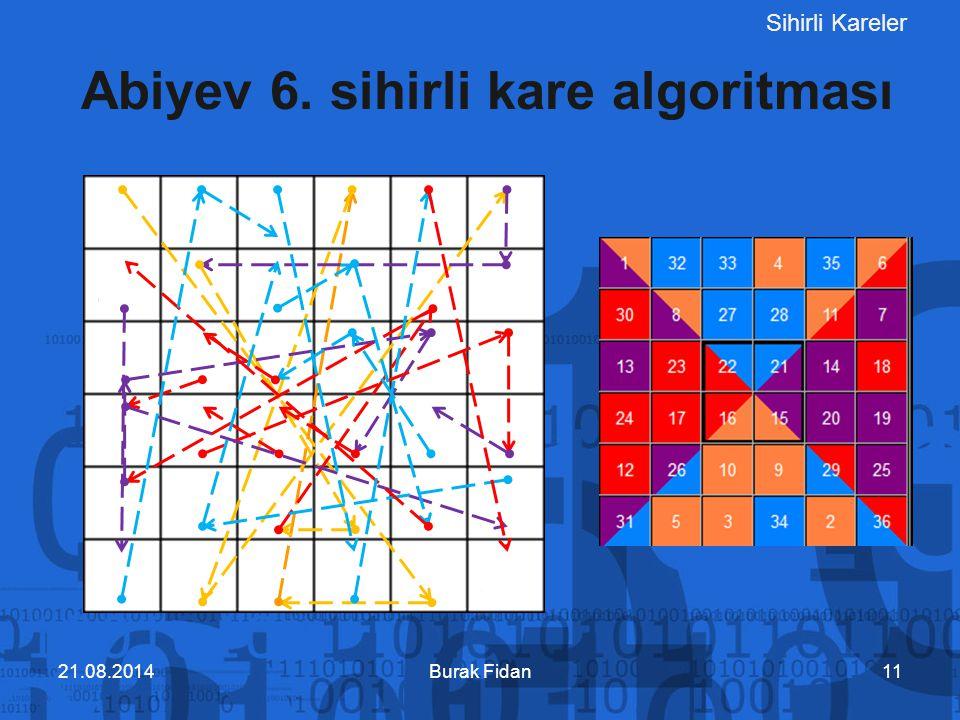 Sihirli Kareler Burak Fidan11 Abiyev 6. sihirli kare algoritması 21.08.2014