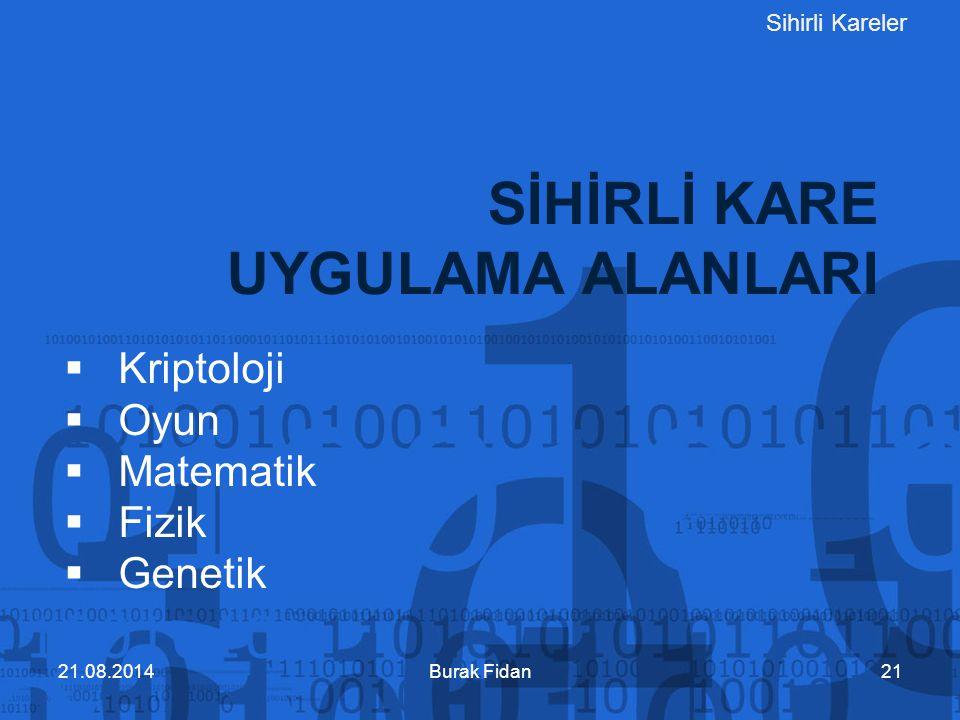 Sihirli Kareler SİHİRLİ KARE UYGULAMA ALANLARI Burak Fidan21  Kriptoloji  Oyun  Matematik  Fizik  Genetik 21.08.2014