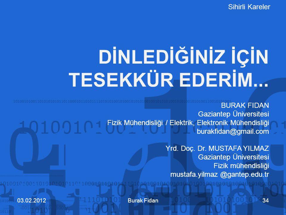Sihirli Kareler DİNLEDİĞİNİZ İÇİN TESEKKÜR EDERİM... Burak Fidan3403.02.2012 BURAK FIDAN Gaziantep Üniversitesi Fizik Mühendisliği / Elektrik, Elektro